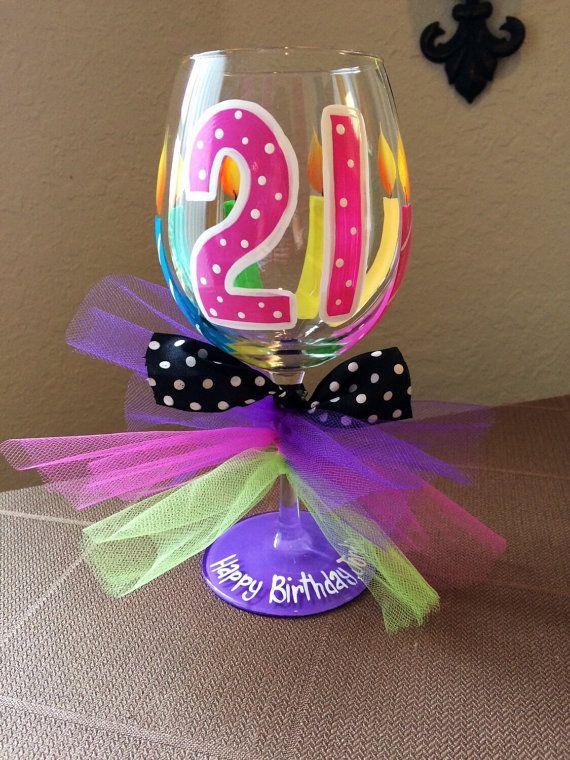 21st birthday wine glass