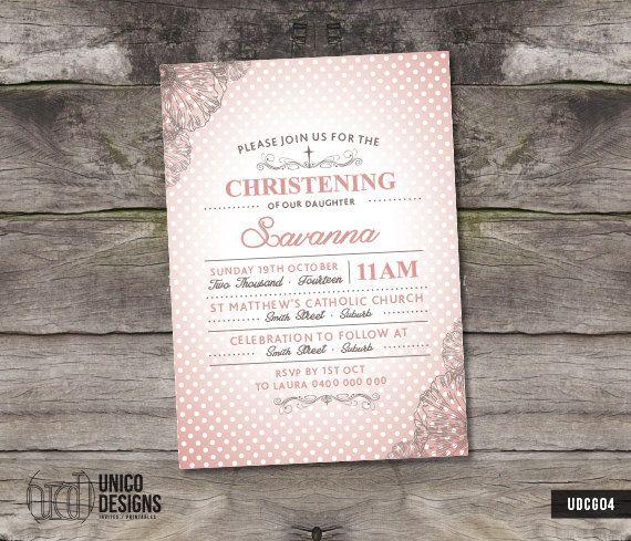 Pink Polka Dot Christening Invitation / by UnicoDesignsInvites