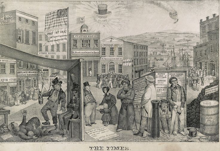 """A commentary on the depressed state of the American economy, particularly in New York, during the financial panic of 1837. Again, the blame is laid on the treasury policies of Andrew Jackson, whose hat, spectacles, and clay pipe with the word """"Glory"""" appear in the sky overhead. Clay illustrates some ...  Contributor:Clay, Edward Williams - Robinson, Henry R."""