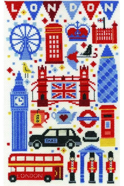 London Attractions Cross Stitch Kit £22.50 | Past Impressions | DMC