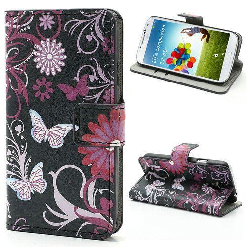 Roze vlinders bookcase hoes voor Samsung Galaxy S4