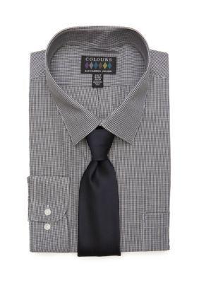 Alexander Julian Men's Big & Tall Boxed Dress Shirt And Tie Set - Black Gingham - 18-18.5 34/35