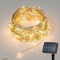 Wish | Christmas Solar Powered String Lights, 2 Modes Steady on / Flash, 150 LED, 72 Feet