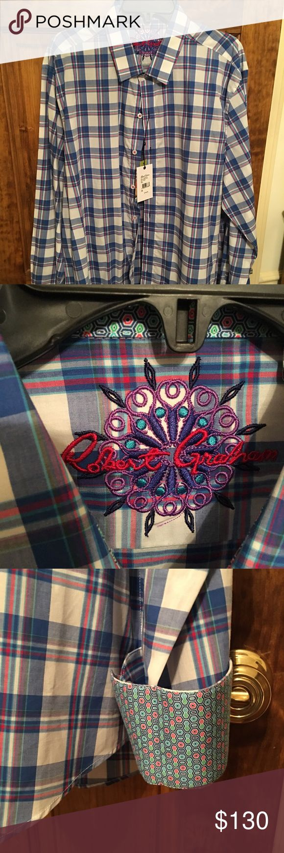 Long sleeve Robert Graham button down Blue, white, pink and a green color long sleeve button down shirt. Never worn NWT. Size XXL Robert Graham Shirts Casual Button Down Shirts