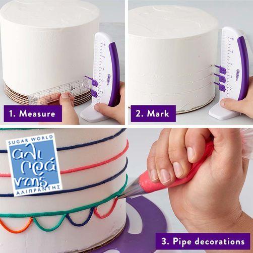 Εργαλείο Μέτρησης  Χρησιμοποιήστε το εργαλείο αυτό για να μαρκάρετε τα πλαϊνά από τις τούρτες σας και τοποθετήστε με ακρίβεια γιρλάντες.