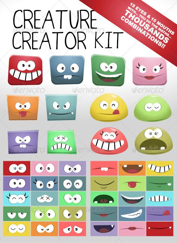 Bloppy Character Creator Kit — Vector EPS #pack #creature • Available here → https://graphicriver.net/item/bloppy-character-creator-kit/1940643?ref=pxcr