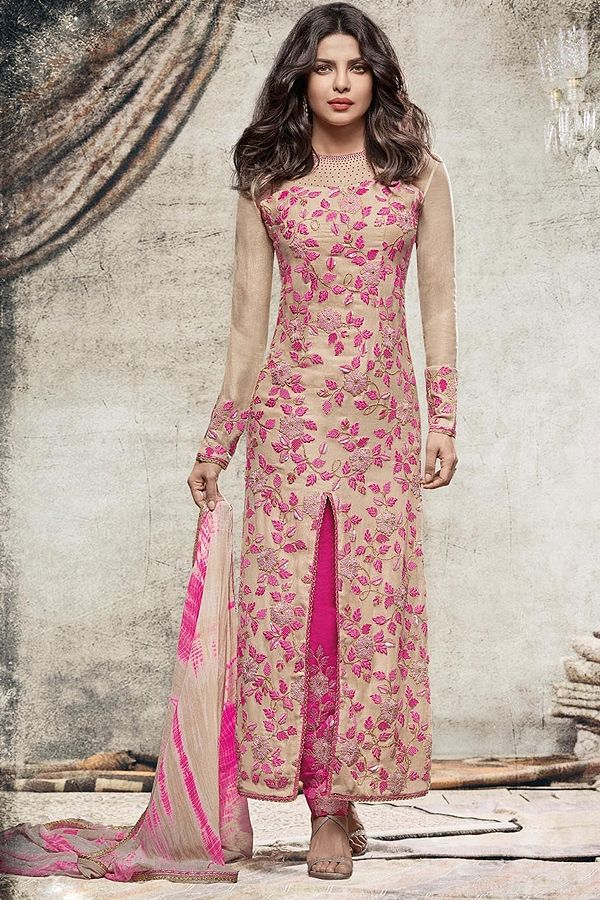 Ivory and Pink straight salwar suit by Like A Diva  #salwarsuits #salwarkameez #salwarkameezonline #salwarsuitsonline #churidarsuits #DesignerSalwarSuits #palazzo suits #Salwarkameez #IndianSuits,  #AsianSuits