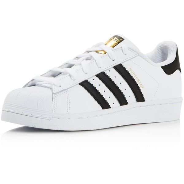 adidas Women's Superstar Foundation Lace Up Sneakers found on Polyvore featuring shoes, sneakers, adidas, flats, lace up shoes, lacing sneakers, laced shoes, sports footwear and laced up shoes