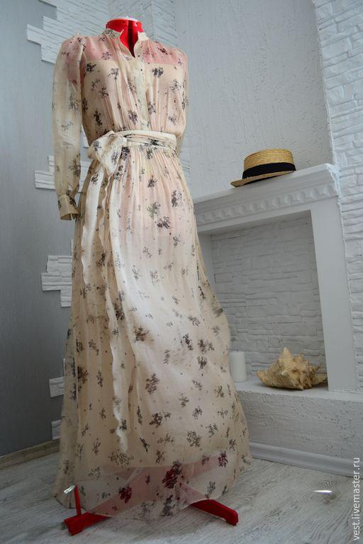 """Купить Платье из шёлкового шифона и сорочка из батиста """"Прикосновение"""" - шифоновое платье, платье в пол"""