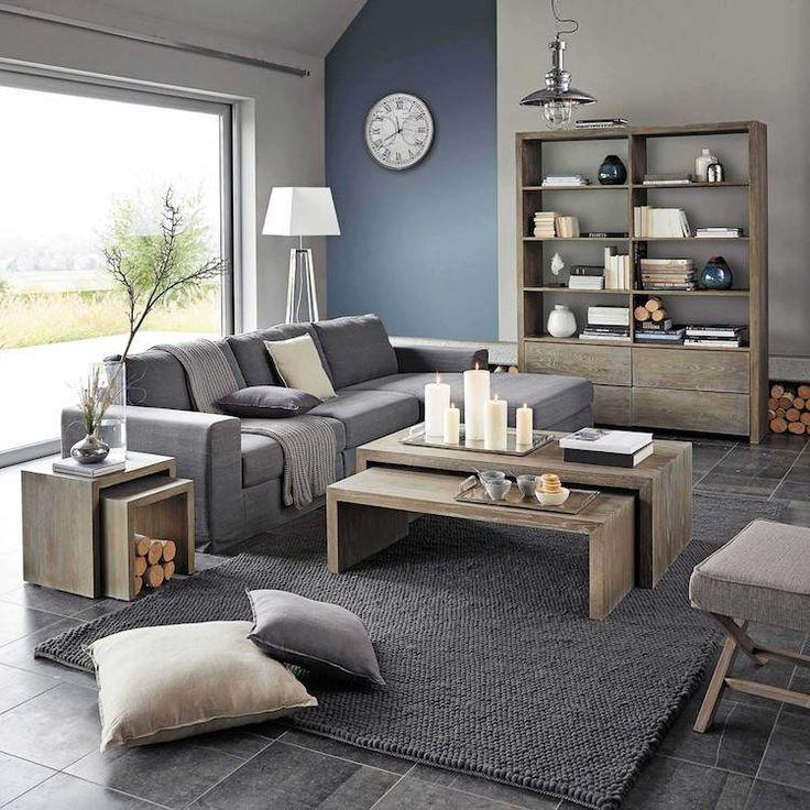 couleur pour agrandir une pièce-mur-accent-bleu-gris-mobilier-salon-gris