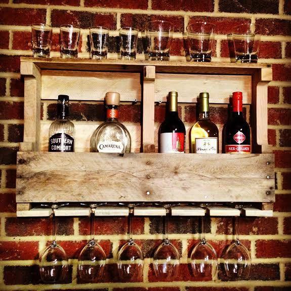 reclaimed wood liquor cabinet wine rack whiskey rack made from recycled pallet with custom wine glass holder