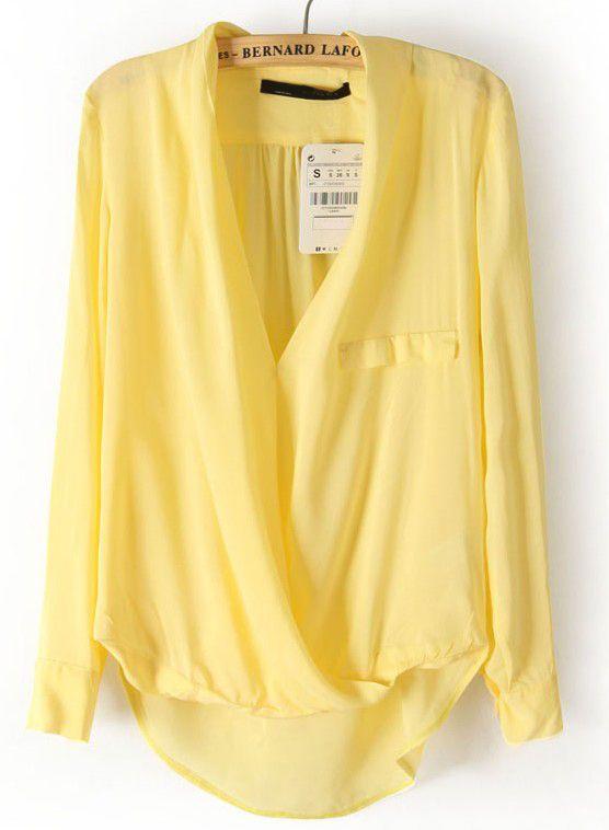 Yellow Long Sleeve Front Cross Dipped Hem Blouse 13.99