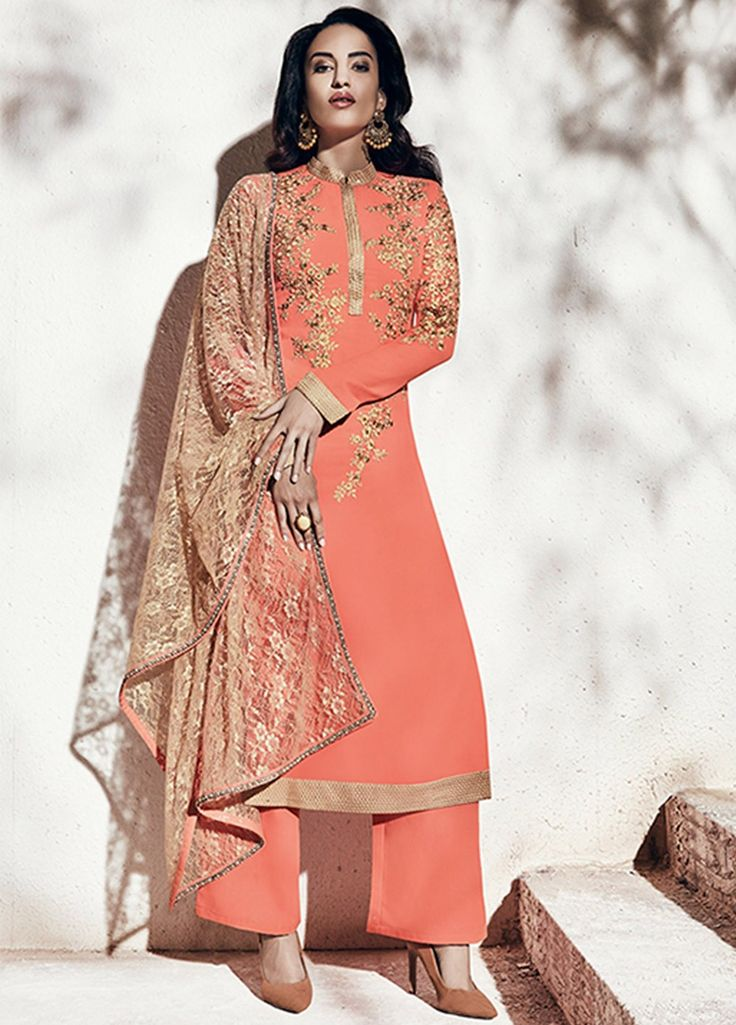 Buy Peach and gold color georgette party wear straight cut salwar kameez in UK…