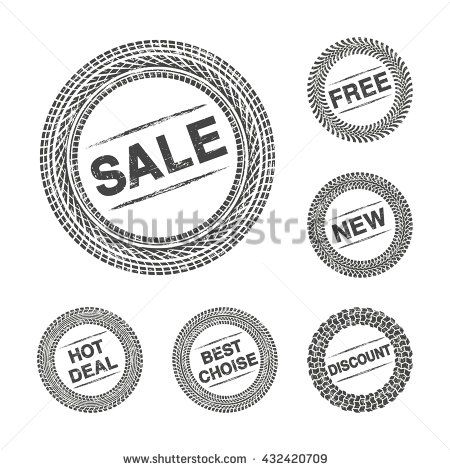 Shopping label tire tread with grunge effect - stock photo