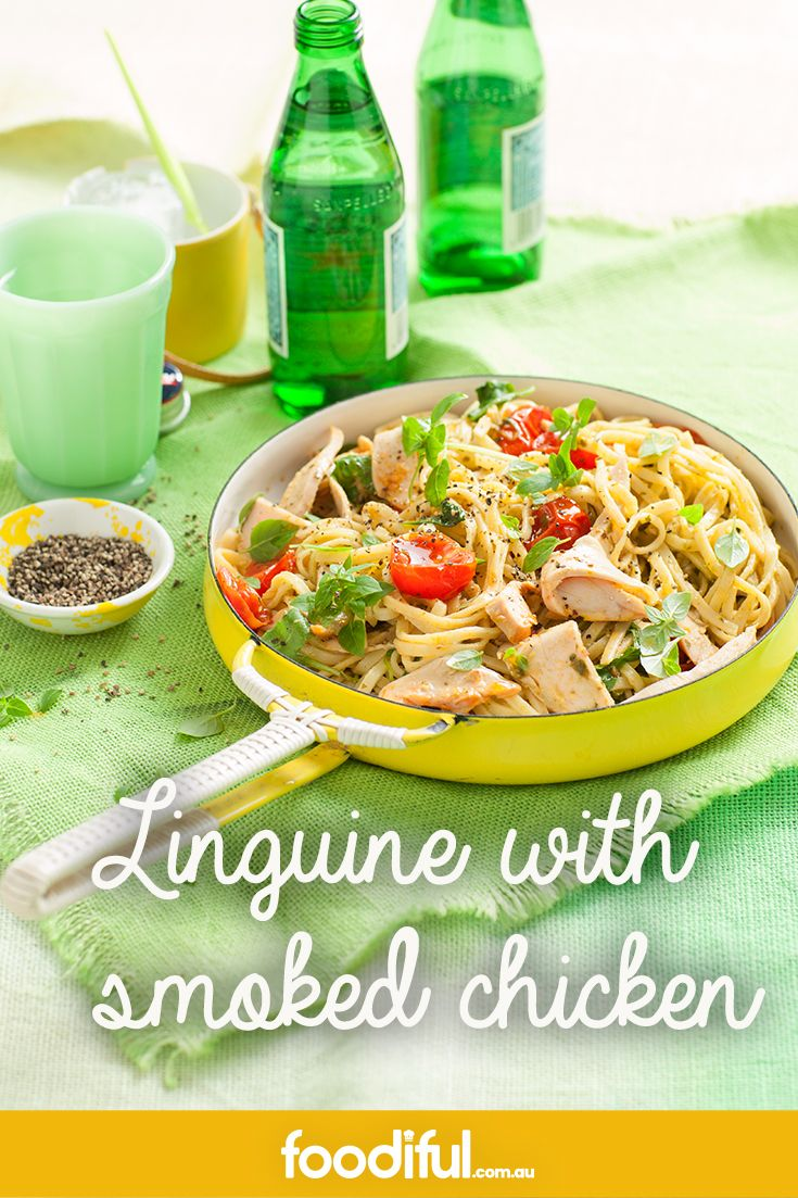 This is a great chicken pasta recipe that only takes 5 ingredients to make. Its serves 4 and takes 30 minutes to get on the table. Basil pesto and cherry tomatoes make this linguine extra delicious.