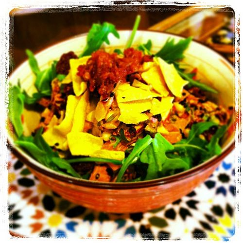Lunch! Raw pad Thai salad in chili and lime with rocket, chickpea chips, chili salsa... And I could carry on.