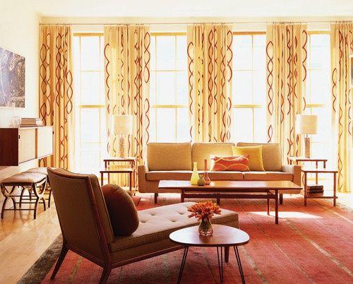 mid century modern window treatments | fresh and inviting mid century modern decor, love the window treatment