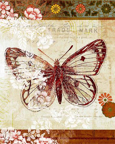 Printable image for decoupage and transfer purposes - butterfly