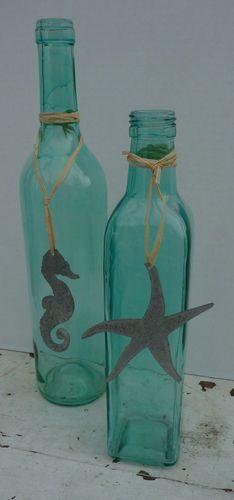 2 Turquoise Auqa Blue Green Glass Bottles Tin Seahorse Starfish Beach Ocean Sea   eBay