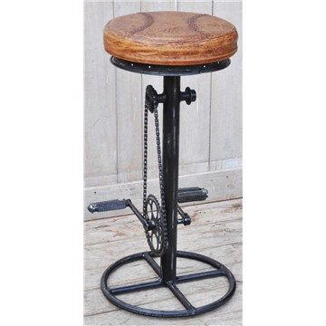 Lambton Hand Crafted Industrial Iron Bar Stool with Leather Seat