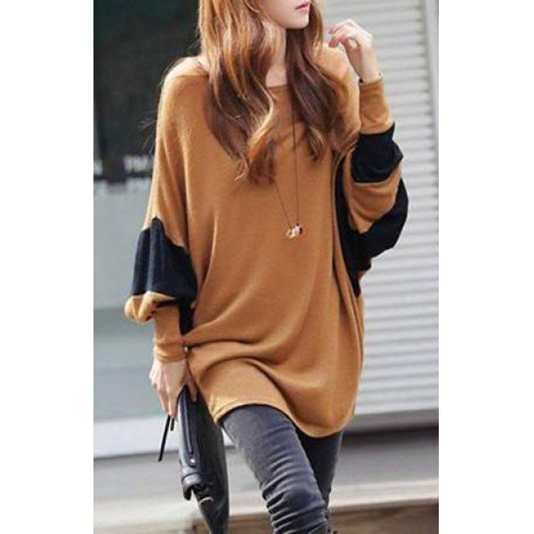 Loose-Fitting Style Bat-Wing Sleeves Scoop Neck Color Block Women's T-shirt