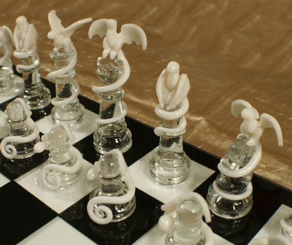 Epic Dragon Chess Set - Glass Board, Polymer Clay Dragons, Handmade, Traditional Black and White