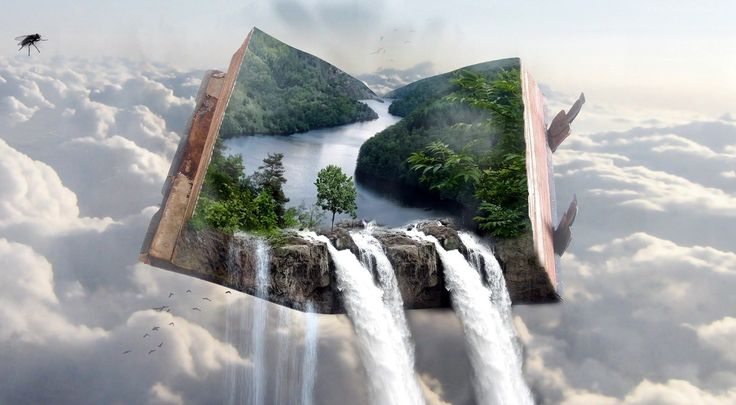 Grafika, 4D, Chmury, Księga, Wodospad, Rzeka, Drzewa