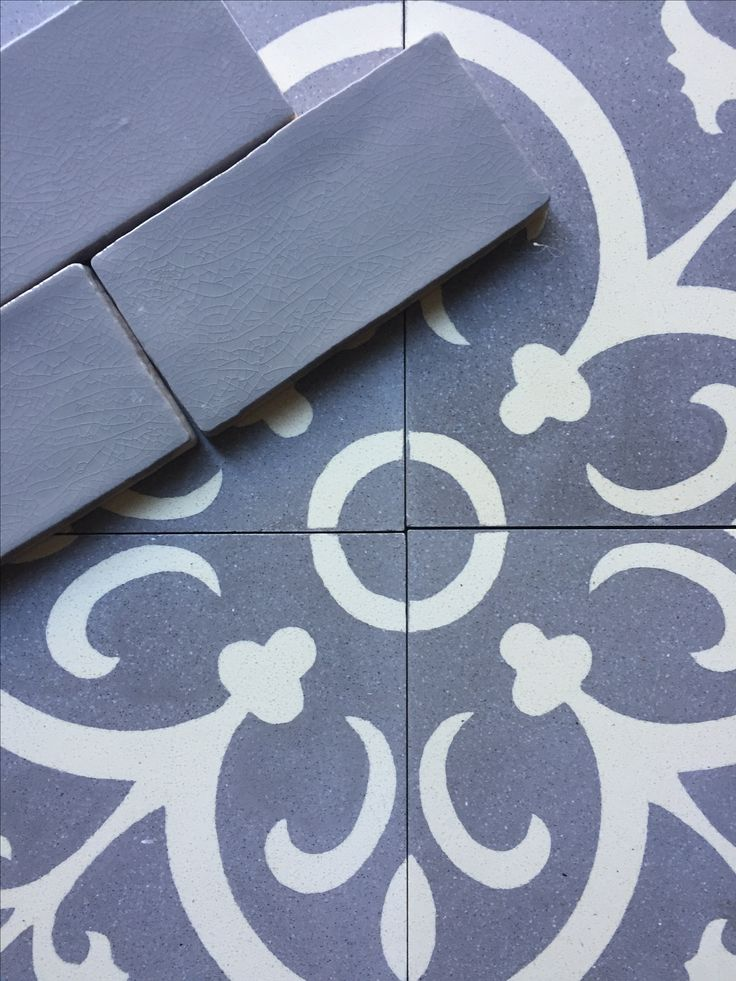 Grays for Days - LaFrance Gray/White Concrete with 3x6 Vintage Chroma Gray Crackle Subway Tile.