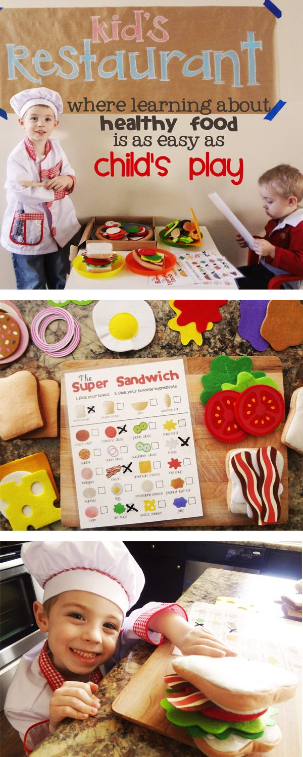 Healthy eating habits can be FUN to teach! Try some play food, printable menus, and voila! A little (healthy) chef in the making!Printables Plays, Plays Food Printables, Play Food Printables, Printables Menus, Fun, Restaurants Menu Printables, Food Sets, Felt Food, Free Printables