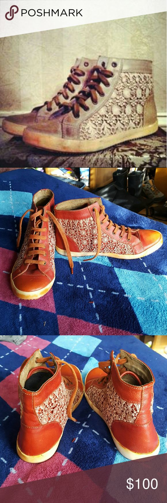 NWOT RARE Free People Atlas Crochet Sneaker Super rare sneaker and color Atlas Crochet Sneaker from Free People. Never worn. Made in Italy. Leather upper with crochet denial on the sides and Lace up front. Burnt orange color. Beautiful shoes that need a good home!! Are sized as a 40 but fit like an 8.5. Free People Shoes Sneakers