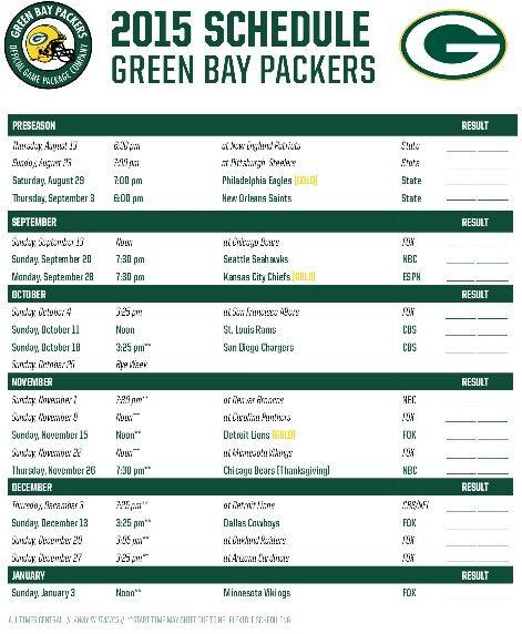 2015 schedule Go Pack Go
