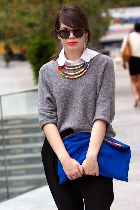 statement necklace, white button up