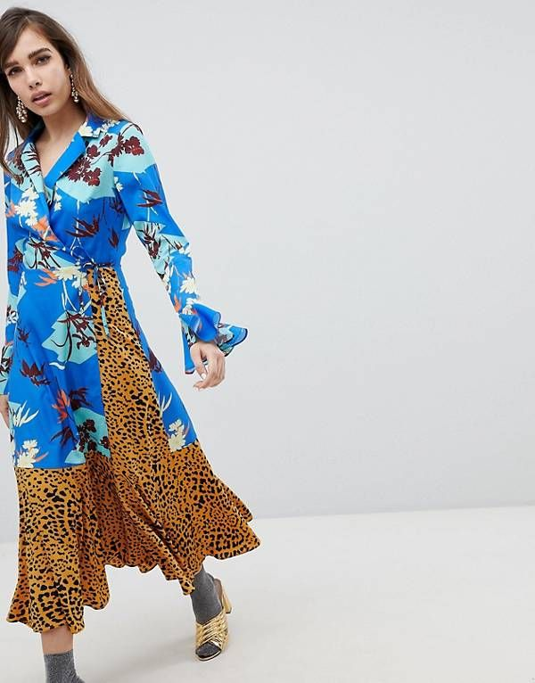 def193f10a ASOS DESIGN Mix Print Wrap Maxi Dress With Fluted Sleeve