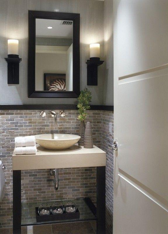 Tile w dark chair rail bathroom pinterest for Chair rail ideas for bathroom