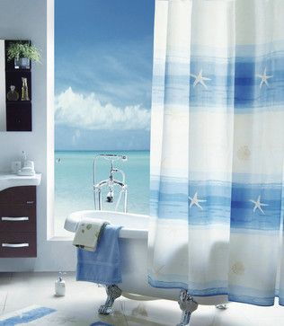 beachy+shower+curtains | beach scenery Shower Curtain - mediterranean - shower curtains - by ...