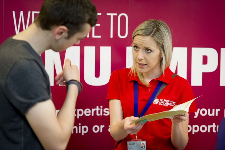 A member of DMU's employability team talks to a first year student about the university's pioneering Frontrunners scheme.
