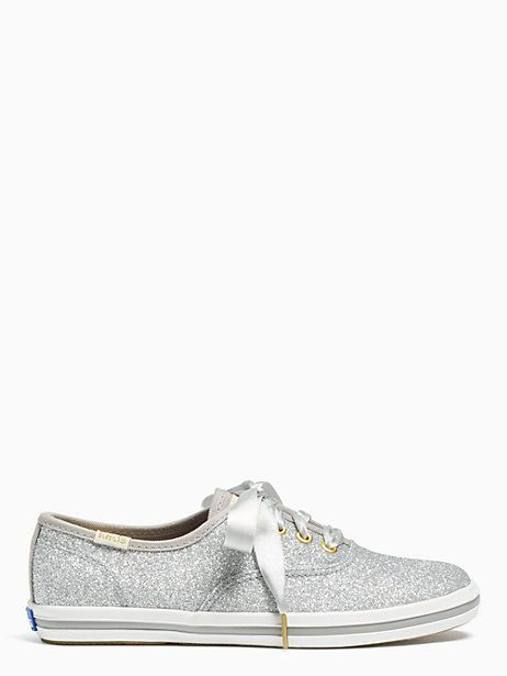 Keds Kids X Kate Spade New York Champion Glitter Youth Sneakers, Silver - Size 4