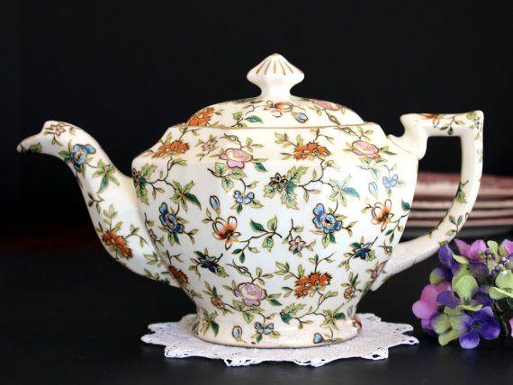 Chintz Teapot Vintage Tea Pot c1950 by TheVintageTeacup on Etsy