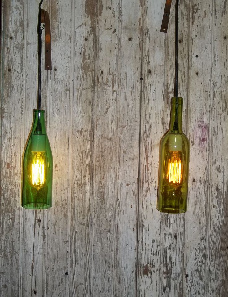 Wine Bottle Light Fixture With Edison Light Bulb Rustic