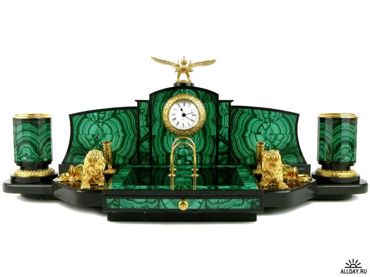 Impressive Malachite desk set with clock featuring recumbent lions and the Russian Imperial Eagle