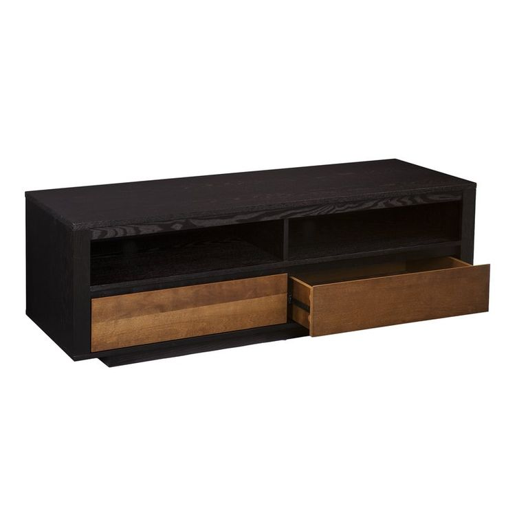 Mosie on down! Modern contemporary chic comes to town in the Mosie media stand. Wide-bodied, but low on profile, this media console nails two-tone sleek in ebony and dark tobacco. Function rocks with open shelving for electronic equipment or reading materials, while drawers tidy up your games and movies or dining accessories. Take your time with this anywhere storage console in your entertainment center or your kitchen and dining zone.