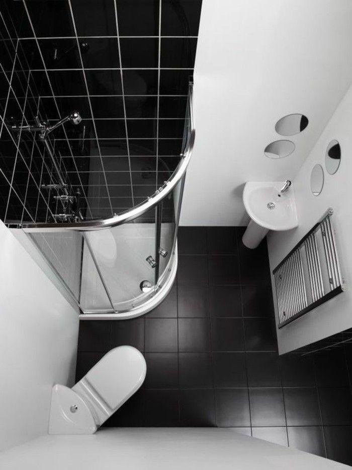 Plan Salle De Bain 3m2 Blanc Noir Sol En Carrelage Noir Murs