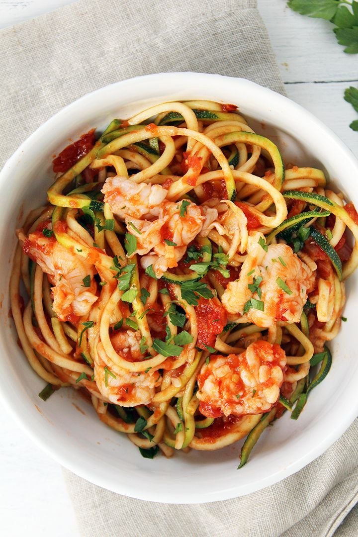 Lobster Tail Fra Diavolo with Zucchini Noodles- although I am not a lobster fan (Shrimp instead?), this sounds delicious!
