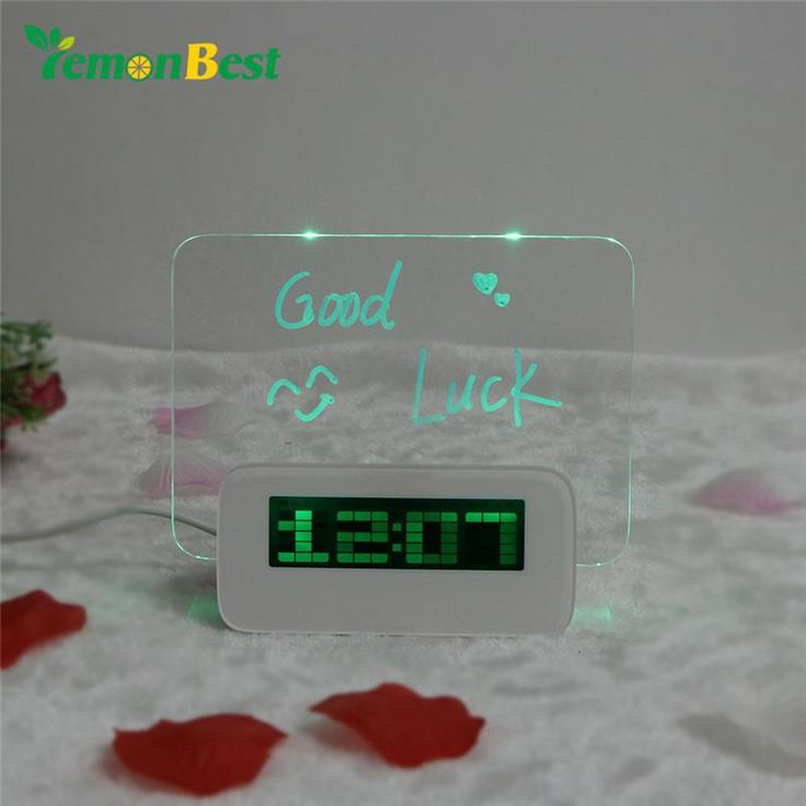 Modern Multi-function LED Fluorescent Digital Alarm Clock with Message Board
