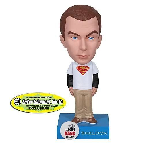 EE Exclusive Big Bang Theory Superman Sheldon Bobble Head by Funko. $11.00. Stands 6-inches tall. Officially licensed. Limited edition. Ages 5 and up. Entertainment Earth exclusive. Entertainment Earth Exclusive! You'll scream Bazinga over this Entertainment Earth Exclusive Sheldon Cooper Superman Bobble Head! From the hit comedy series The Big Bang Theory, comes Sheldon Cooper! Sheldon comes disinterested, and the Wacky Wobbler features him in a white Superman T-shirt wit...