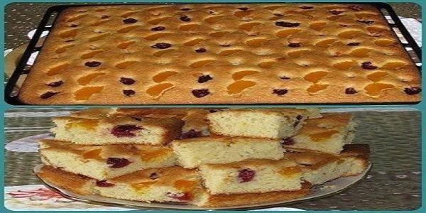 Пирог на минералке с фруктами. Долго остаётся свежим, хотя проверить это тяжело. Вроде на кухне никого не было, а пирог испарился