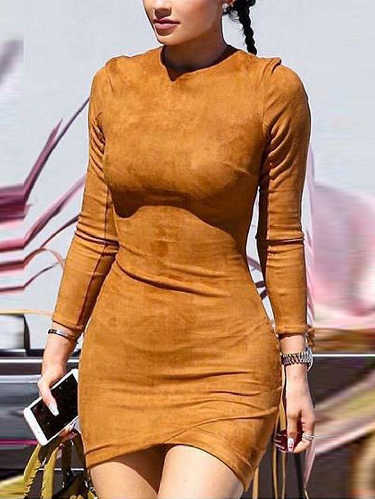 Long Sleeve Round-Neck Bodycon Mini Sheath Dress Tan Suede