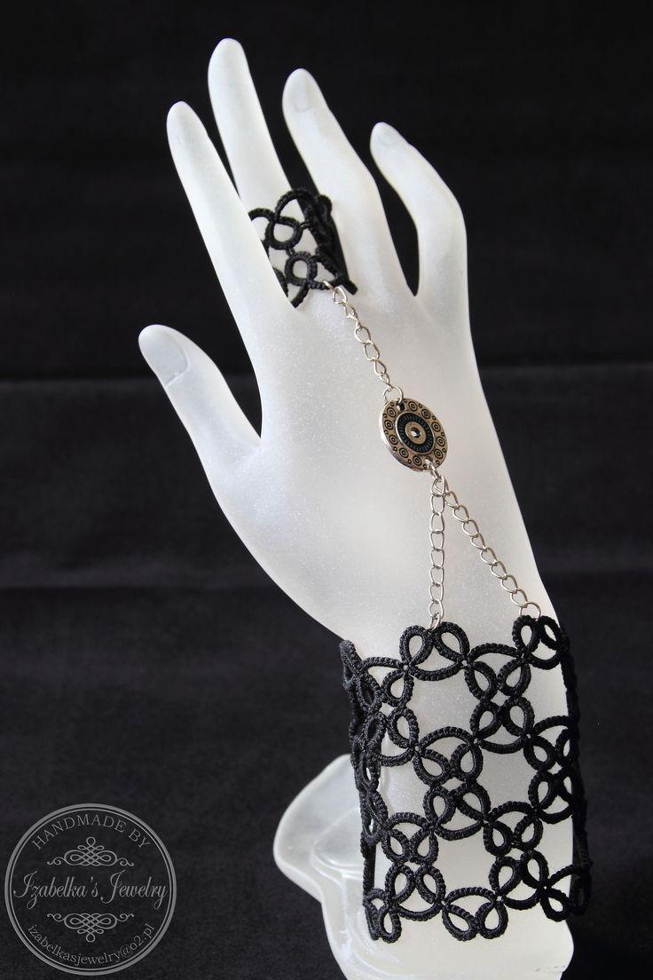Frywolitkowa bransoletka z pierścionkiem