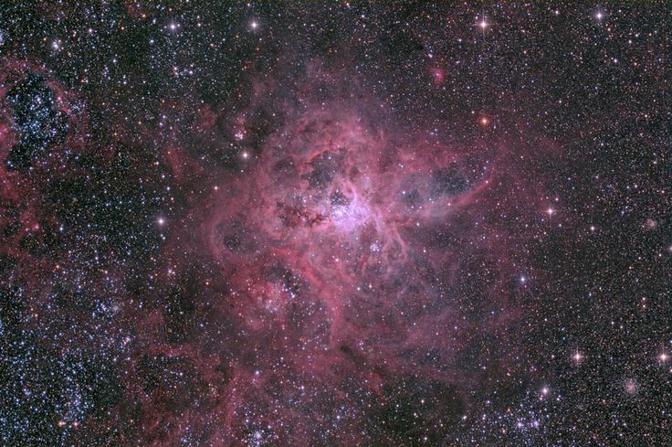 It is the largest and most complex star forming region in the entire galactic neighborhood. Located in the Large Magellanic Cloud, a small satellite galaxy orbiting our Milky Way galaxy, the region's spidery appearance is responsible for its popular name, the Tarantula nebula. This tarantula, however, is about 1,000 light-years across.