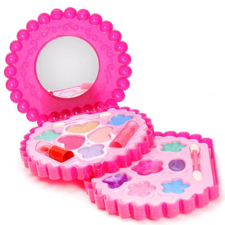 Grote make-up set bestaande uit 7 kleuren oogschaduw, 3 kleuren rouge, 2 lipsticks, 4 kleuren lipgloss en twee kwastjes.Afmeting: verpakking 30 x 26 x 5 cm - Make-up Set Rond